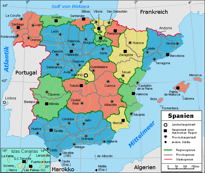 Spanien: Karte der Provinzen