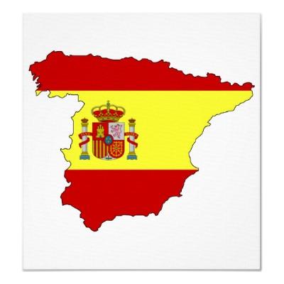 Spanien Flagge auf Karte